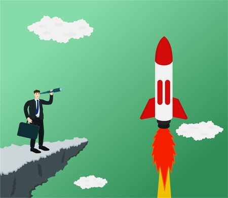 Businessman standing on cliff and use telescope looking rocket rise to sky , startup concept