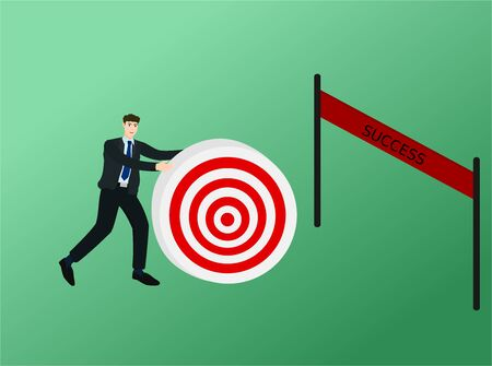 Businessman walking and push target to finish line , success concept