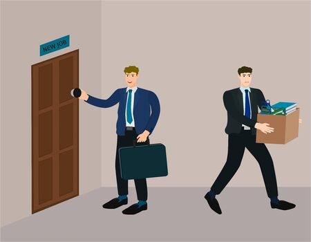 New employee get a job while old employee is layoff , vector cartoon