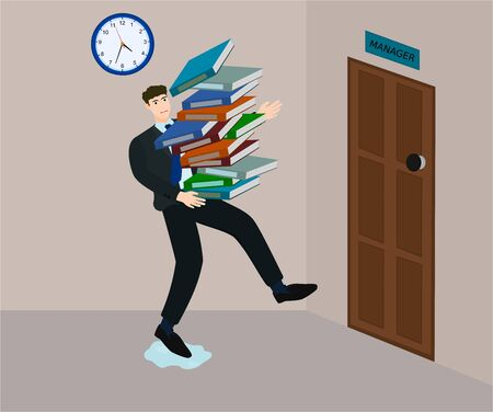 Employee stumble while running to sent many document to manager in deadline time 向量圖像