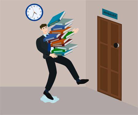 L'employé trébuche en courant pour envoyer de nombreux documents au responsable dans les délais Vecteurs