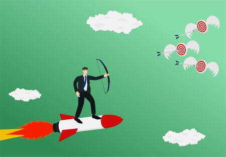 Businessman standing on rocket and archery three arrow to flying target , startup concept