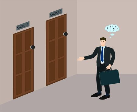Businessman standing and thinking to choose choice to open the door , confuse concept Иллюстрация