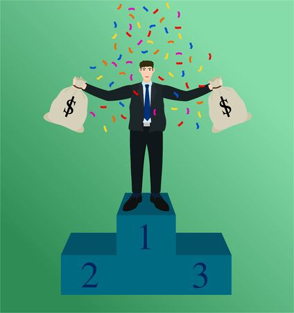 Winner businessman standing on podium and holding money bag , success concept