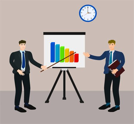 Businessman presentation low profit graph on screen for manager , fail concept Ilustração