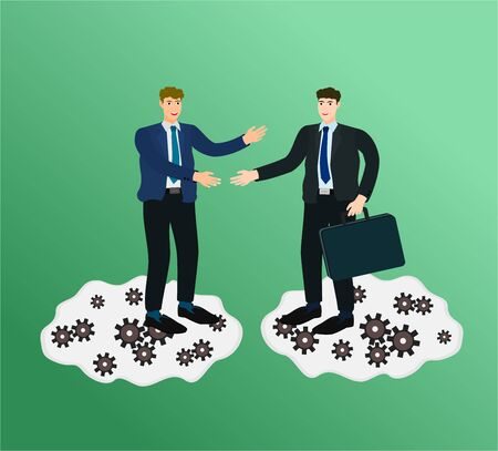 Two businessman success handshake for trading contract with cloud internet concept