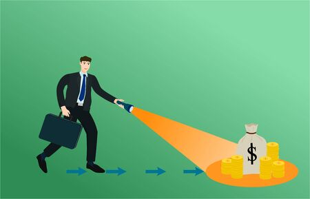 Businessman holding flashlight shine for search money , success concept