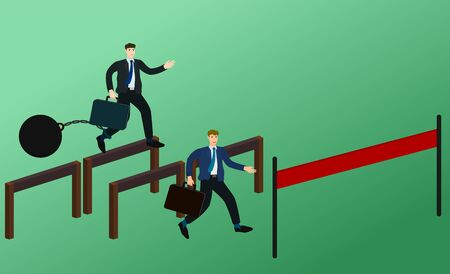 Two businessman race running and jump obstacle to finish line with unfair concept