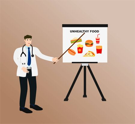 Doctor presentation unhealthy food on screen , vector cartoon