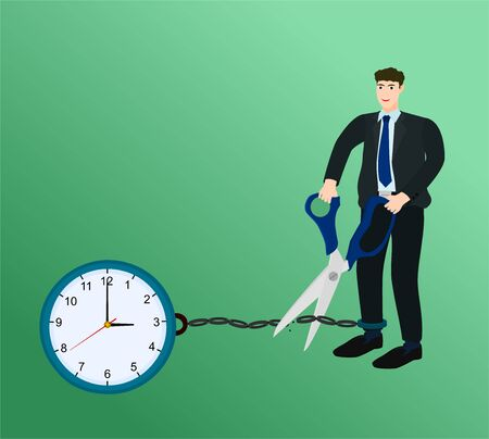 Businessman holding scissors to cutting clock chain , success concept