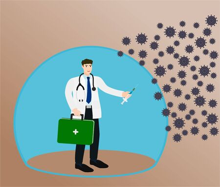 Doctor holding first aid box and use vaccine to protection the virus
