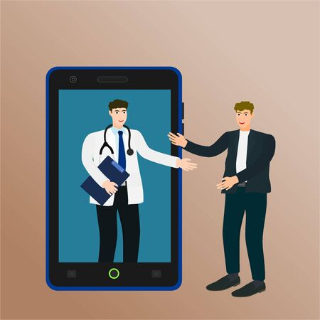 Doctor talking patient about health care with smartphone, online consultation concept 向量圖像