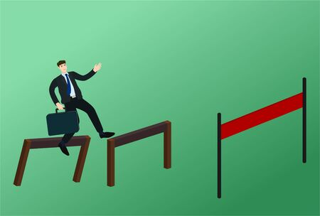 Businessman stumble between jump over obstacle to finish line, fail concept