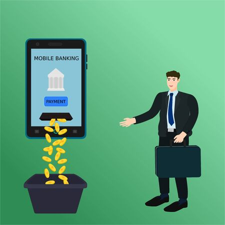 Businessman use payment money with mobile banking, vector cartoon 向量圖像