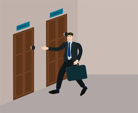 Businessman decision choose choice to open the door , multiple concept