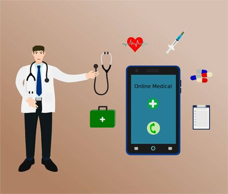 Doctor suggest consultation treatment with smartphone , online medical concept 向量圖像