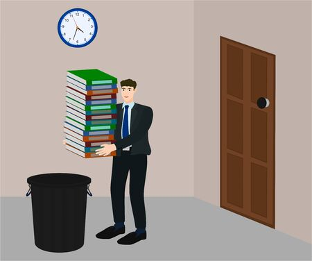 Businessman holding many document for throw to bin , vector cartoon