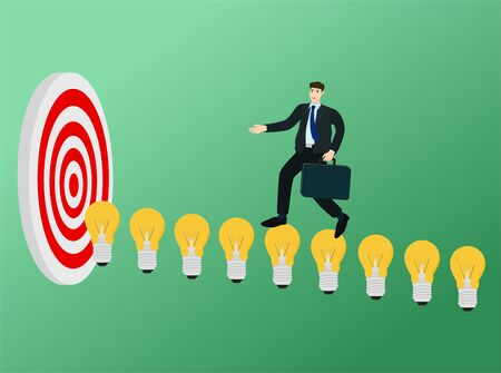 Businessman running on idea light bulb to target , success concept