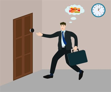 Businessman hurry running to exit office for to eat fast food, vector cartoon 向量圖像