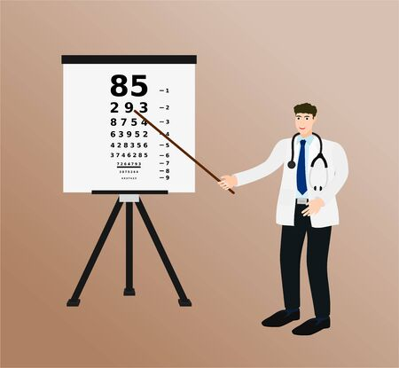 Doctor standing and pointing to eye test chart, health care concept