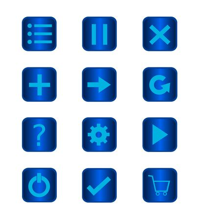 Icon set button of game and mobile app on white background