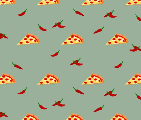 Seamless fast food slice pizza and chili pattern background 向量圖像