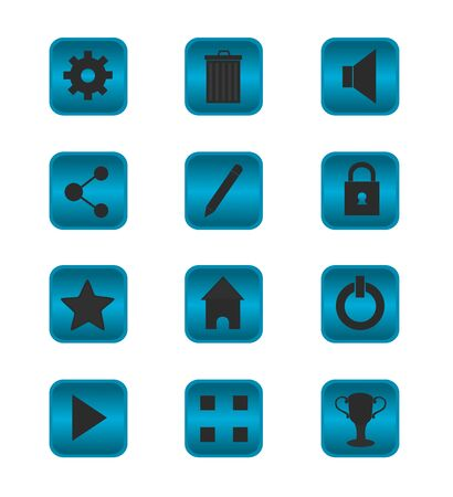 Isolated button design of game and mobile app, icon set