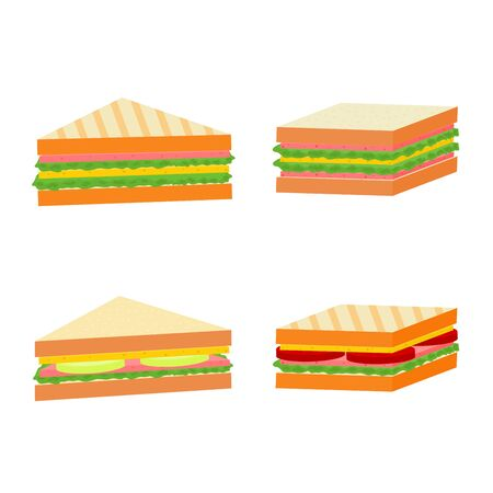 Isolated delicious sandwich fast food menu icon set, vector cartoon Stock Illustratie