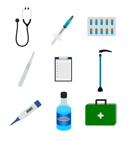 Isolated medical tool with stethoscope , pill and syringe etc. icon set