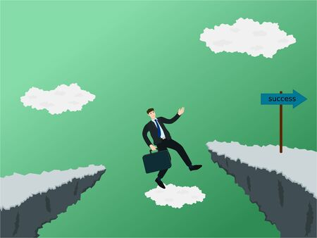 Businessman fail jump across gap of cliff for to success way 向量圖像