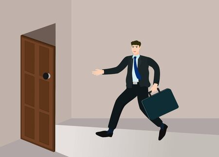 Businessman running enter open door to success way, opportunity concept