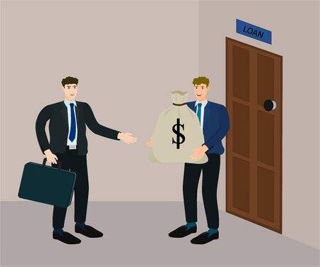 Businessman success agreement to loan money from creditor, vector cartoon