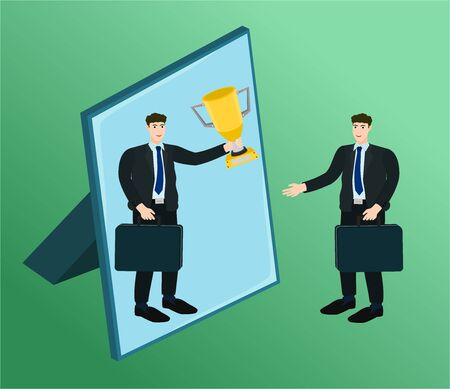 Businessman standing in front mirror looking himself success winner