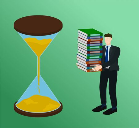 Business standing near big hourglass and holding many document work in deadline concept 向量圖像