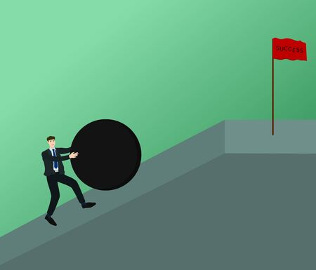 Businessman pushing big obstacle up top slope way to success flag