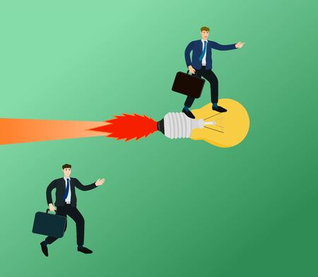 Businessman advantage with idea rocket in competition, unfair concept