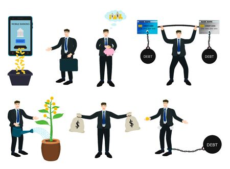 Isolated set businessman profit money and debt character design vector cartoon 向量圖像