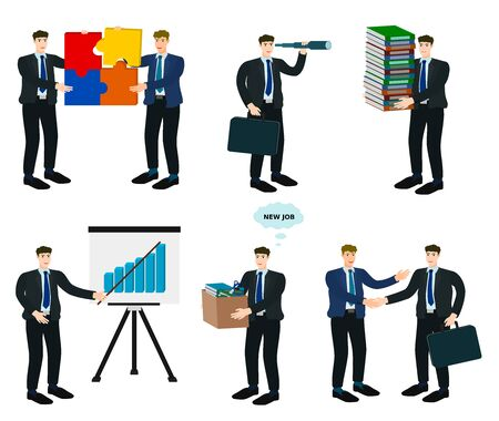 Set of businessman work in office character design vector cartoon