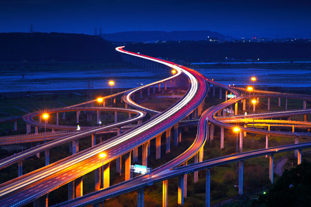 aerial view: Highway in night with cars light in Taiwan