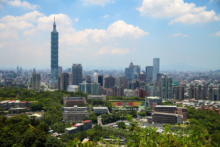 downtown district: Skyline of Xinyi District in downtown Taipei, Taiwan.