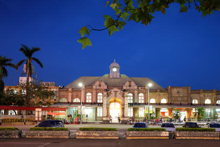 night view of Hsinchu station in Taiwan