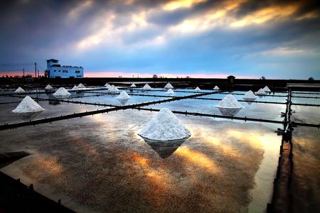 salt farm with sunset in Tainan, Taiwan