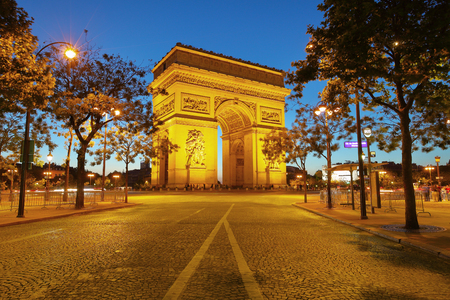 triumphal: Arch of Triumph at night, Paris, France