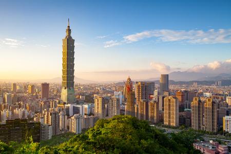 modrý: Město Taipei při západu slunce, Taiwan