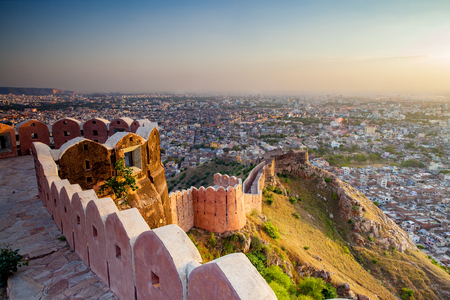 Aerial view of Jaipur from Nahargarh Fort at sunset Stock Photo