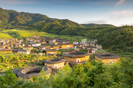 Aerial view of Chuxi Tulou cluster in fujian, china Banque d'images
