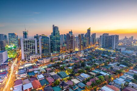 Eleveted, night view of Makati, the business district of Metro Manila,  Philippines