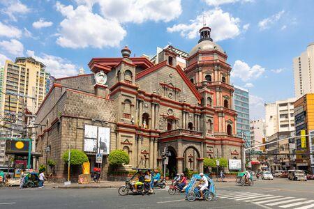 Binondo Church with tuk-tuk in manila,philippines Reklamní fotografie