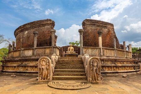 The Sacred Quadrangle with buddha, Ancient ruins Sri Lanka Stock Photo