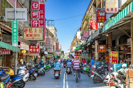 Tainan, Taiwan-June 7, 2020: entrance of traditional yongle market on Guohua street. it's one of the biggest market in tainan selling many kinds of delicious food. 新闻类图片